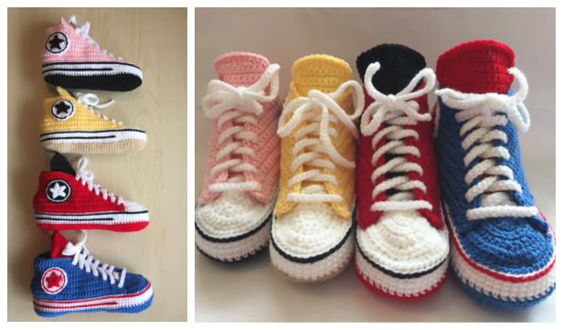 Adult Converse Sneaker Slippers Free Crochet Patterns + Video