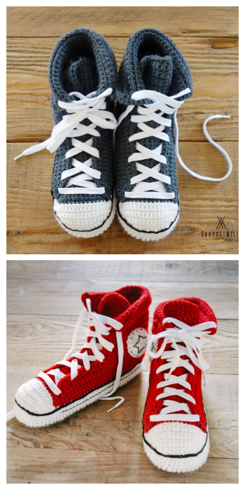 Unisex Adult Converse Sneaker Slippers Crochet Patterns + Video