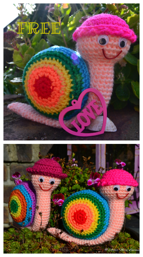 Amigurumi Rainbow Snail Free Crochet Patterns