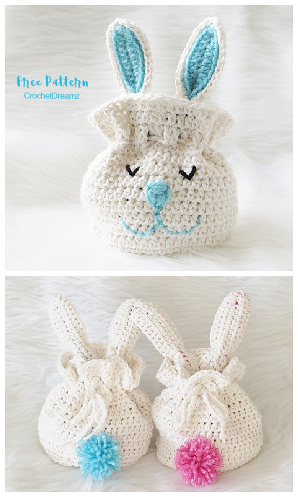 Bunny Easter Drawstring Gift Bag Free Crochet Patterns