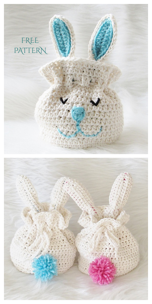 Bunny Easter Drawstring Gift Bag Free Crochet Patterns