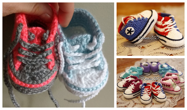 Converse Baby Sneakers Free Crochet Patterns + Video