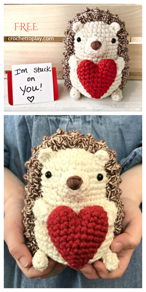 Crochet Valentine Heart Hedgehog Amigurumi Free Patterns