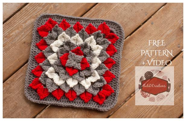 Crocodile Dahlia Square Free Crochet Pattern + Video