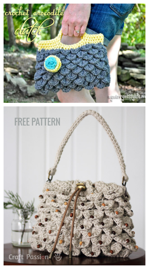 Crocodile Stitch Handbag Free Patterns + Video