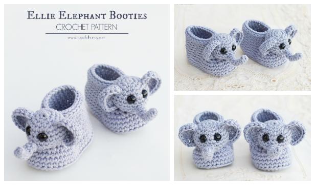 Elephant Baby Booties Free Crochet Pattern + Video
