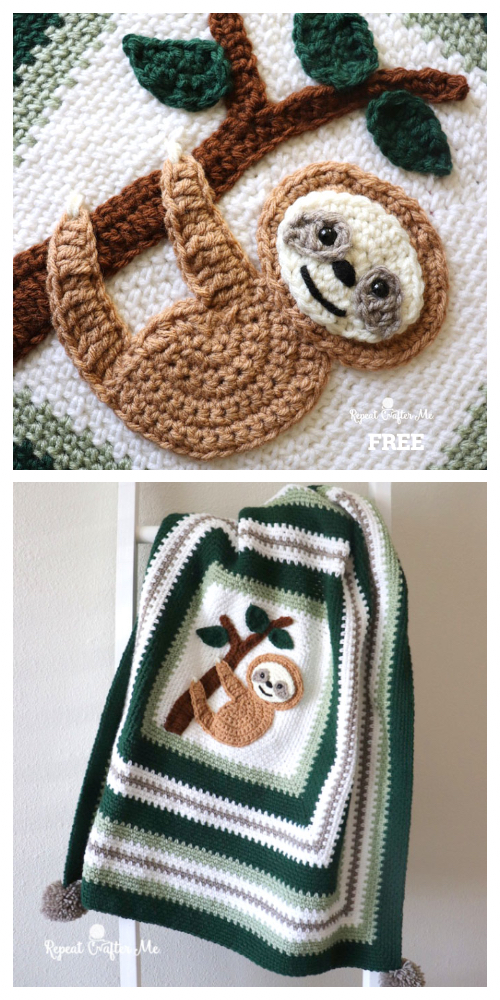 Adorable Sloth Blanket Free Crochet Pattern