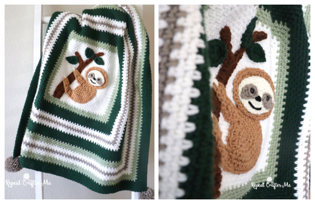 Adorable Sloth Blanket Free Crochet Pattern