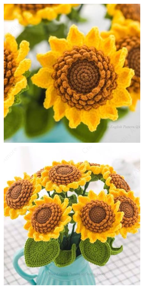 Sunflower Bouquet Free Crochet Patterns + Video