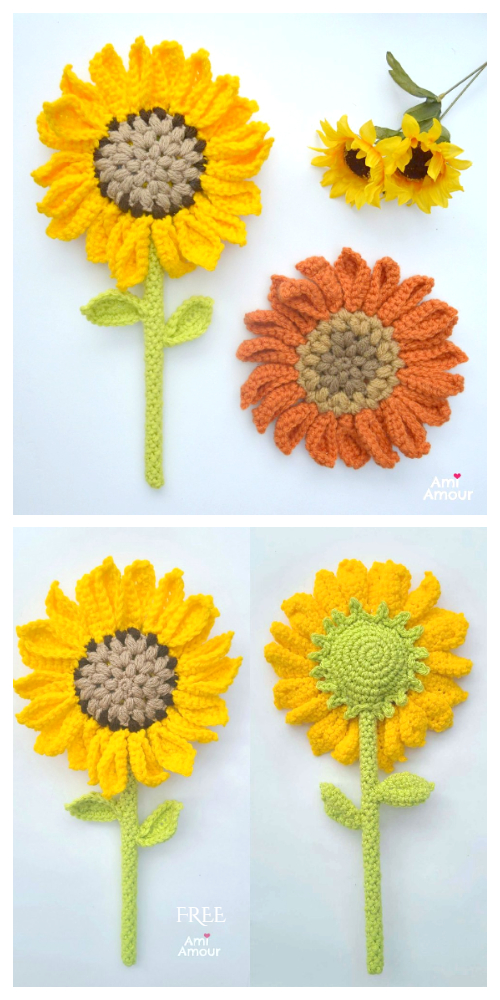 Sunflower Wand Flower Free Crochet Pattern + Video