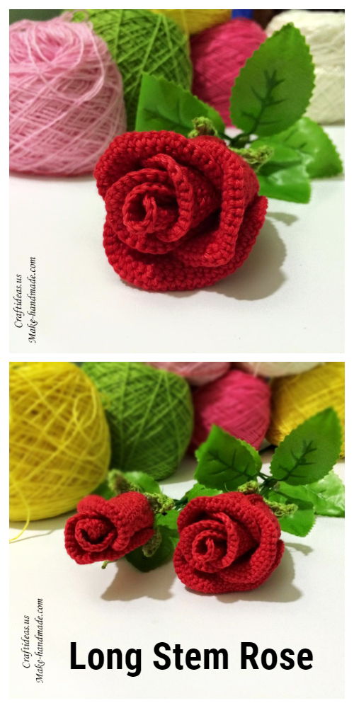 Long Stem Rose Free Crochet Pattern + Video