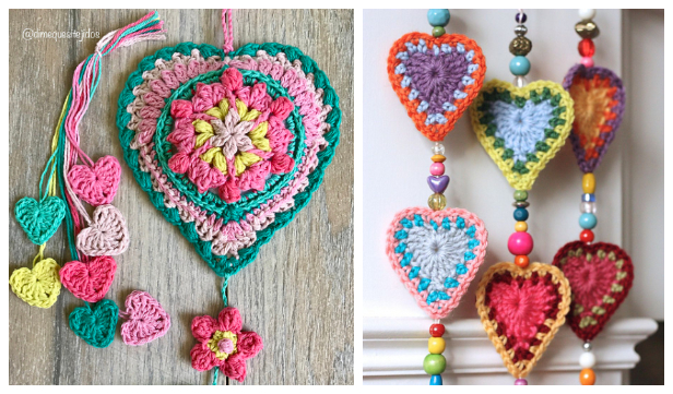 Valentine BOHO Heart Wall Hanging Free Crochet Patterns