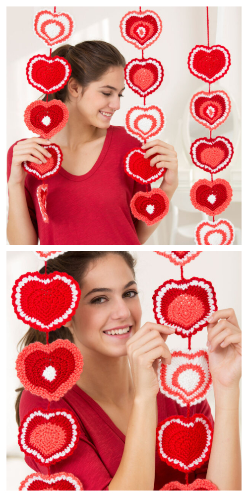 Valentine Heart Wall Hanging Free Crochet Patterns