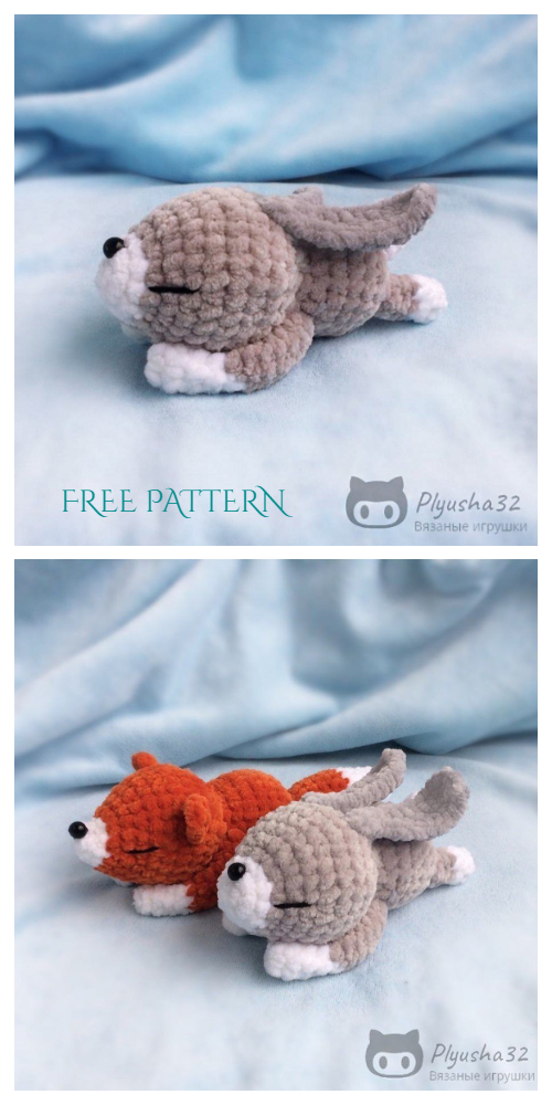 Amigurumi Lazy Sleeping Bunny Free Crochet Patterns