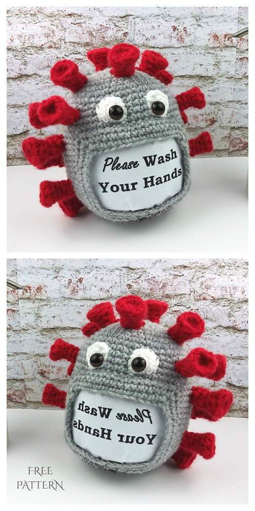 Crochet Coronavirus Sign Holder Amigurumi Free Patterns