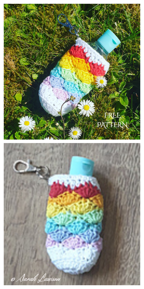 Rainbow Hand Sanitizer Holder Free Crochet Patterns