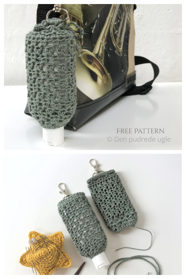Topsy-turvy Hand Sanitizer Holder Free Crochet Patterns