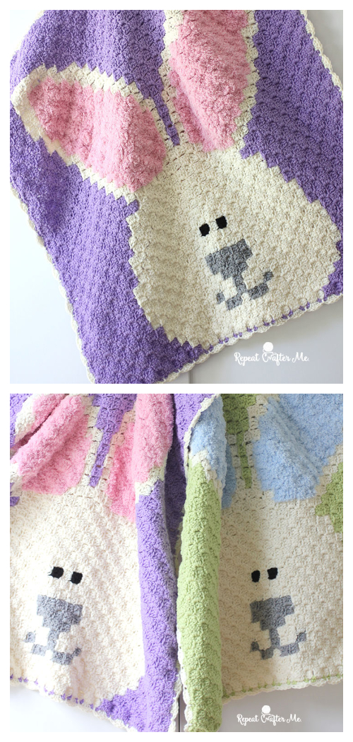 C2C Bunny Blanket Free Crochet Patterns