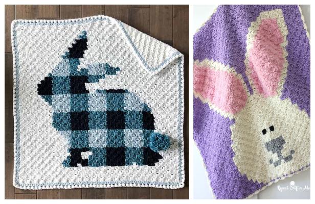 C2C Bunny Blanket Free Crochet Patterns