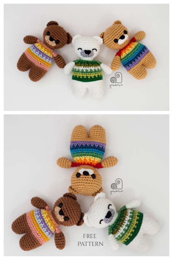 Crochet Tiny Rainbow Teddy Bear Amigurumi Free Patterns