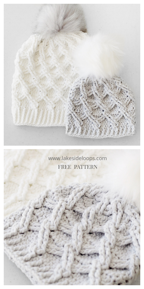 Diamond Cable Hat Free Crochet Patterns