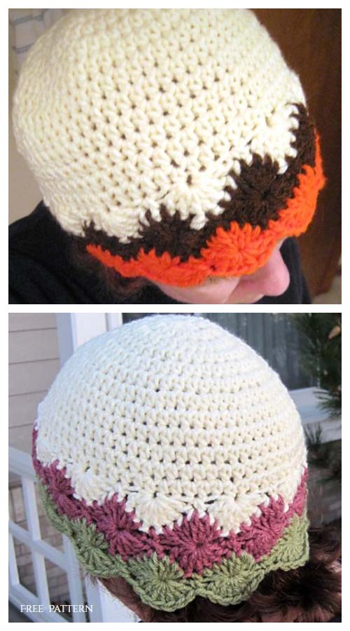 Diamond-edge Beanie Hat Free Crochet Pattern