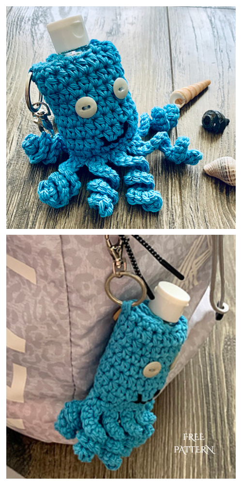 Little Octopus Hand Sanitizer Holder Free Crochet Patterns
