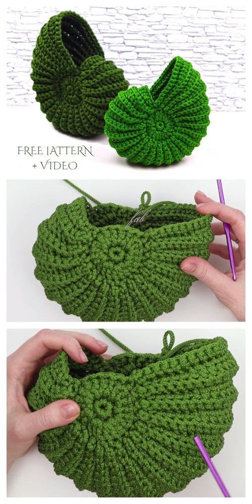 Spiral Shell Free Crochet Patterns + Video
