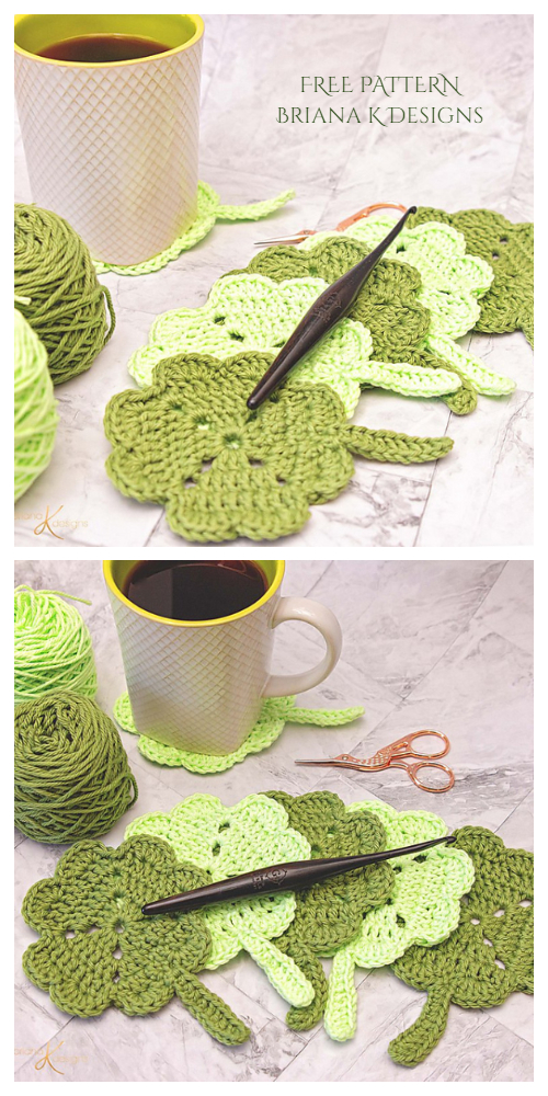 Spring Shamrock Coaster Free Crochet Patterns