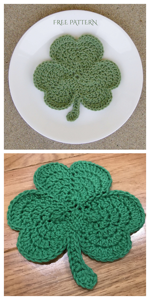 Spring Shamrock Coaster/Potholder Free Crochet Patterns