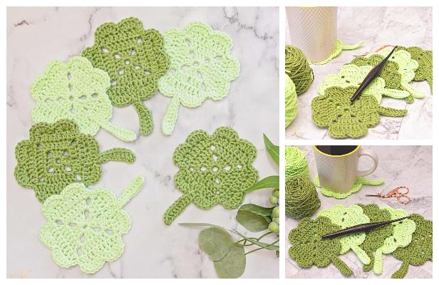 Spring Shamrock Coaster Free Crochet Patterns & Paid