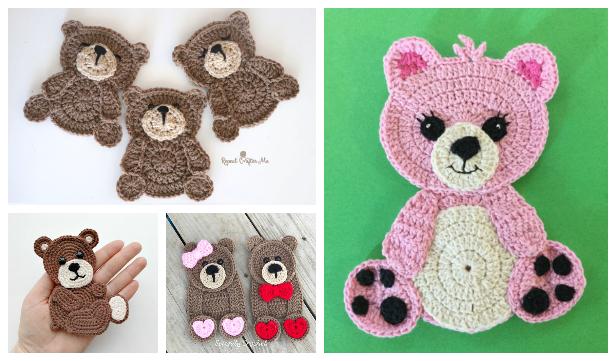 Teddy Bear Applique Free Crochet Patterns & Paid