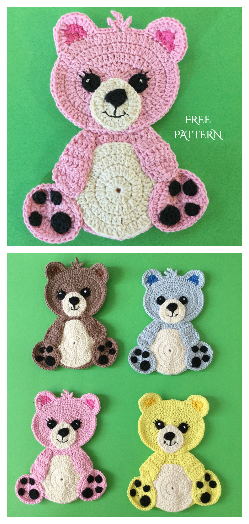 Teddy Bear Applique Free Crochet Patterns