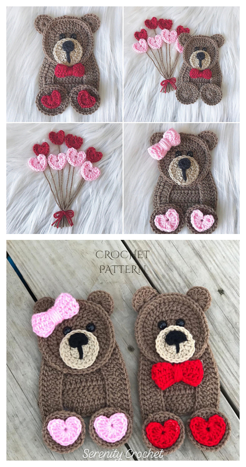 Teddy Bear Love Applique Free Crochet Patterns & Paid