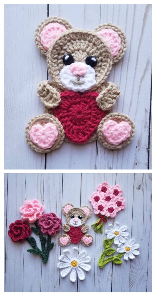 Sweet Valentine Teddy Bear Applique Free Crochet Patterns & Paid