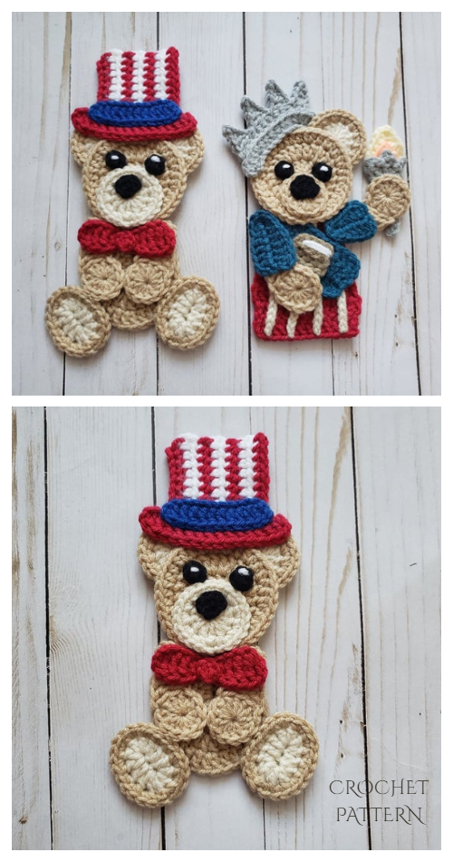 4th of July Teddy Bear Applique Free Crochet Patterns & Paid