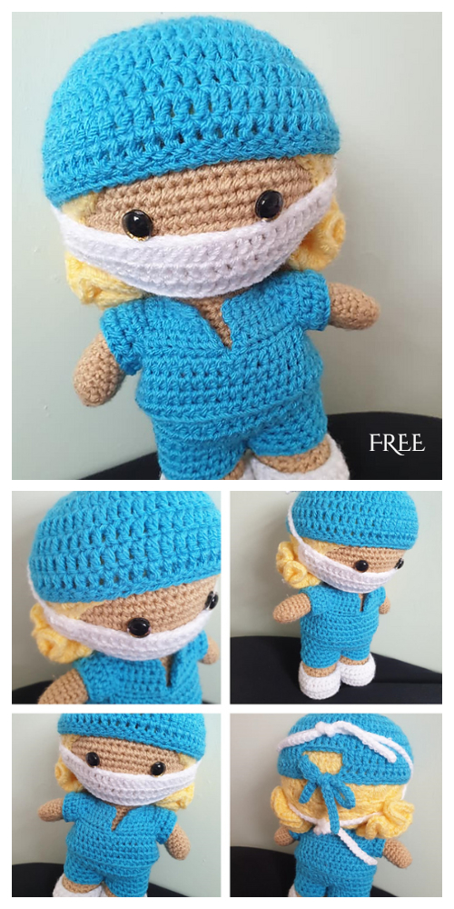 Amigurumi Weebee Doll Healthcare Worker Free Crochet Patterns
