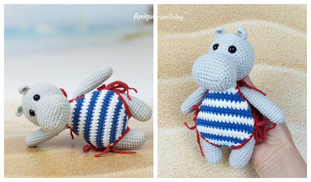Amigurumi Hippo in Swimsuit Free Crochet Patterns
