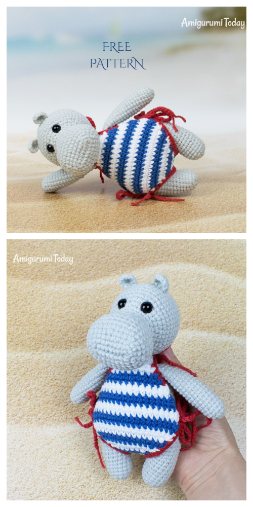 Amigurumi Hippo in Swimsuit Free Crochet Patterns