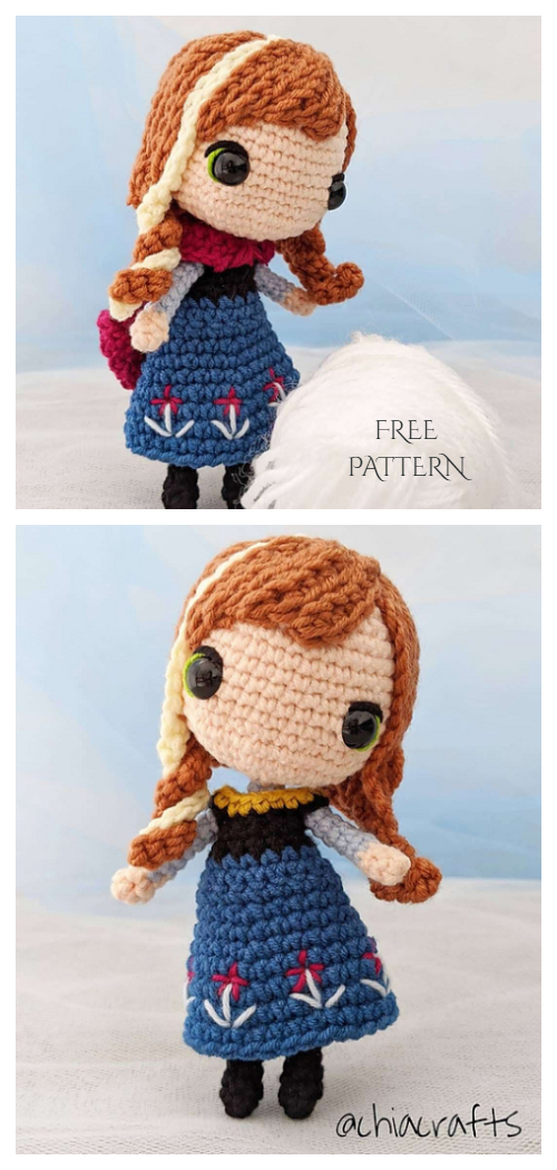 Amigurumi Princess Anna Doll Free Crochet Patterns