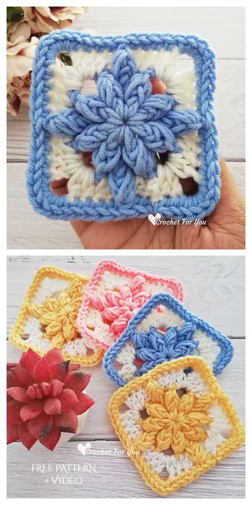 Bobble Drops Granny Square Free Crochet Pattern