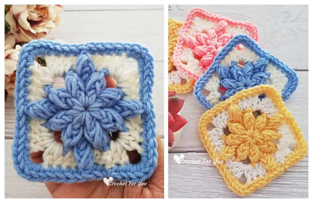 Bobble Drops Granny Square Free Crochet Pattern