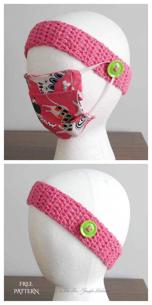 Buttoned Headband Mask Holder Helper Free Crochet Pattern
