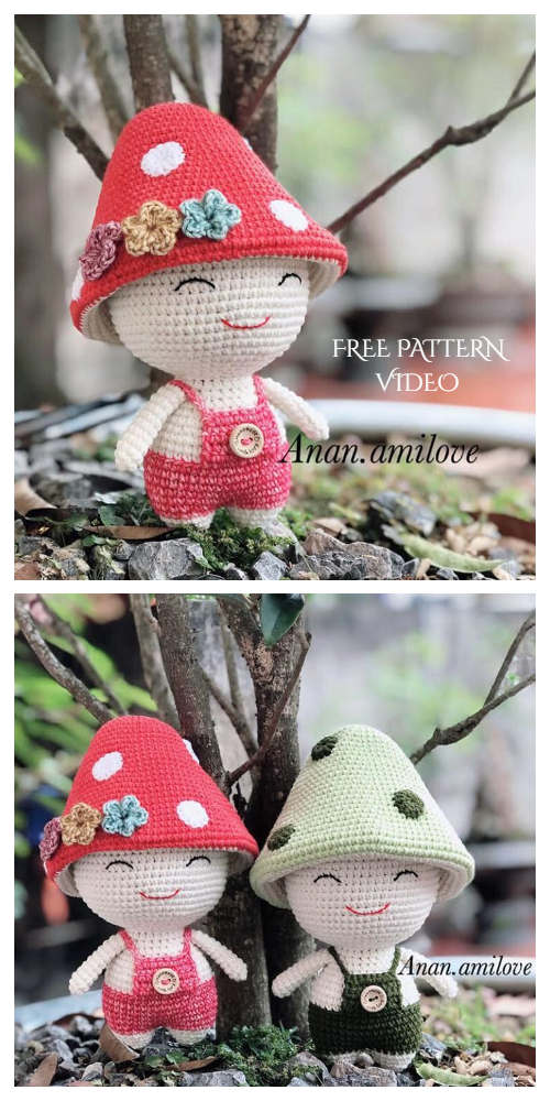 Crochet Mushroom Doll Amigurumi Free Pattern + Video