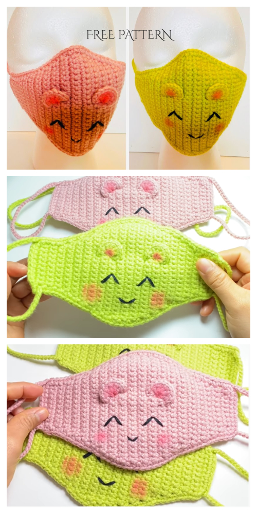 Fun Animal Mouse Face Mask Free Crochet Patterns + Video