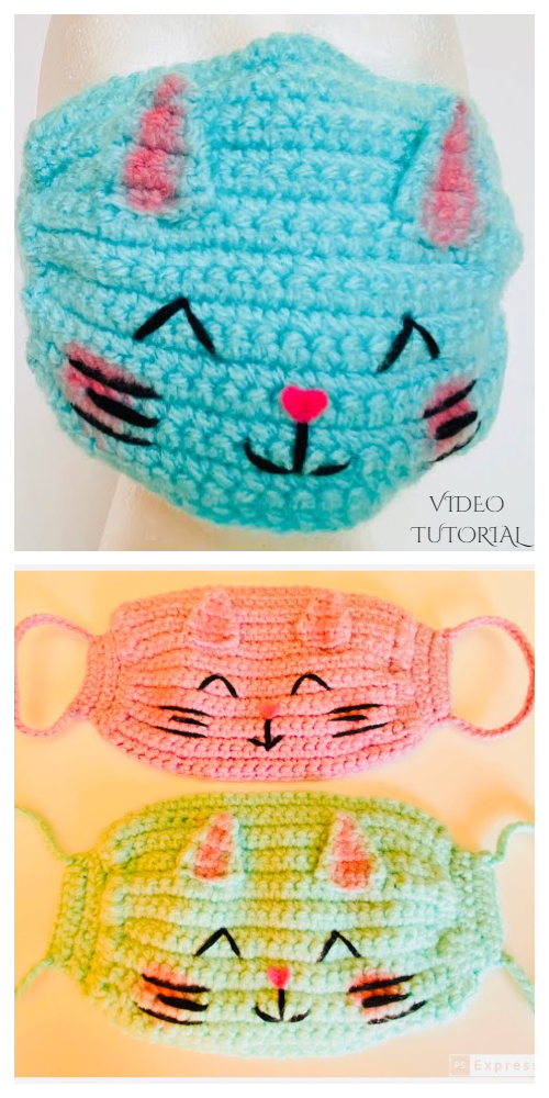 Fun Animal Cat Face Mask Free Crochet Patterns + Video