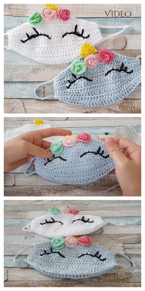 Fun Animal Unicorn Face Mask Free Crochet Patterns + Video