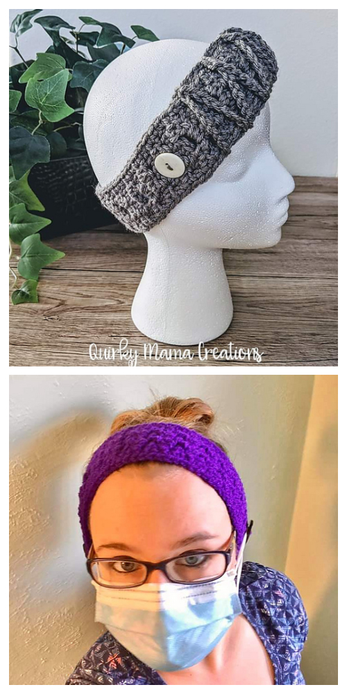 Buttoned Headband Mask Holder Free Crochet Pattern
