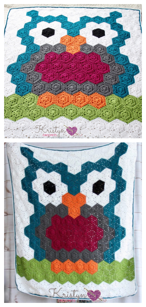 Owl Hexagon Blanket Free Crochet Pattern