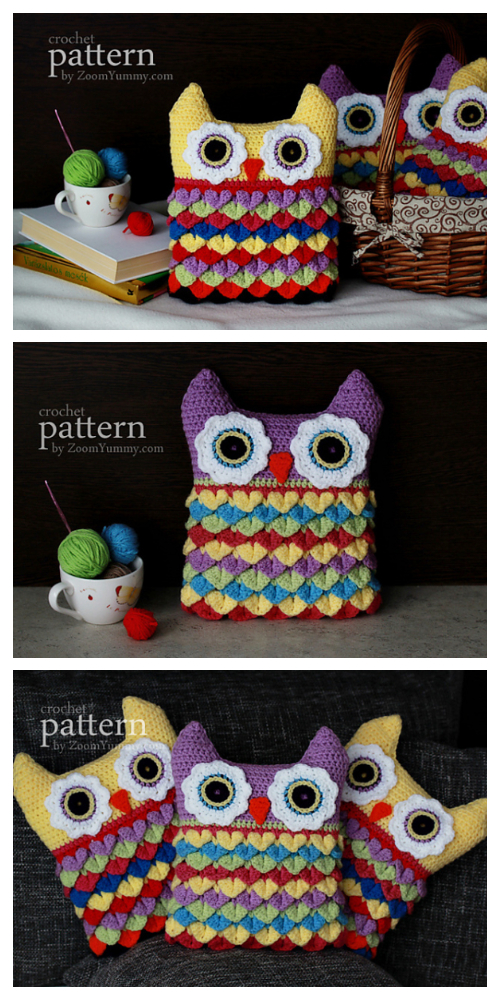 Owl Pillow Free Crochet Pattern & Paid